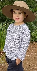 Popsicle top with Blue Bicycle design top great for covering up in the sun and helping to protect precious skin. Cool, comfortable, lightweight cotton top sizes 1-12 years. Designed in Australia, soft, high quality fabric made exclusively for Three Sun Possums