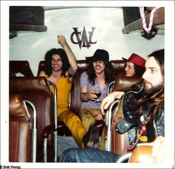 SLADE & STATUS QUO - 1973 Tour bus snapshot..Jim Lea, Noddy Holder, Alan Lancaster & Doug Coglan