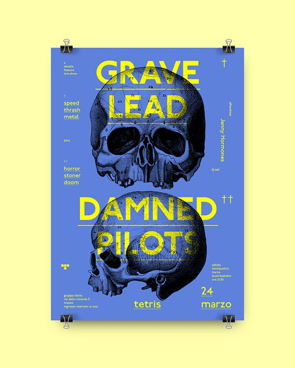 Poster for Grave Lead and Damned Pilots (double) concert at Tetris club, Trieste (Italy). No commercial purposes.