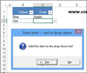in excel how to add drop down list