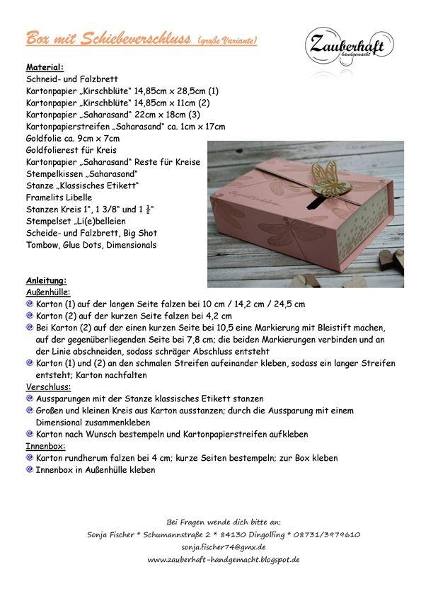 Eine Box in Kirschblüte mit goldener Libelle als Verpackungskidee zum Valentinstag oder Geburtstag haben wir beim vorletzten Workshop zusam...