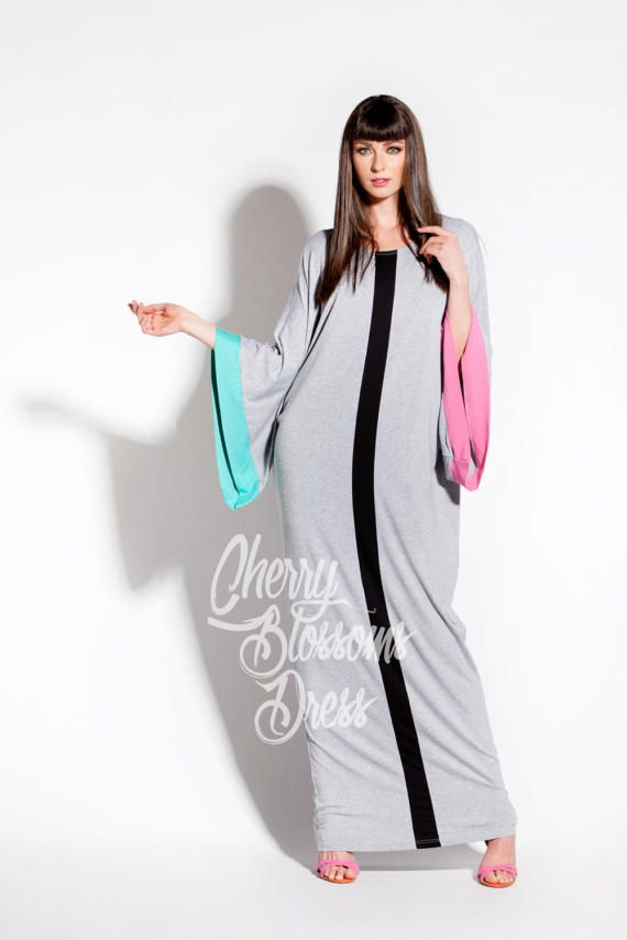Grey Maxi Dress/Long maxi dres/ Caftan/ by cherryblossomsdress