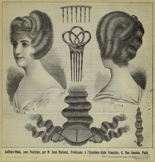 Coiffure-Mode, Avec Postiches, 1914.