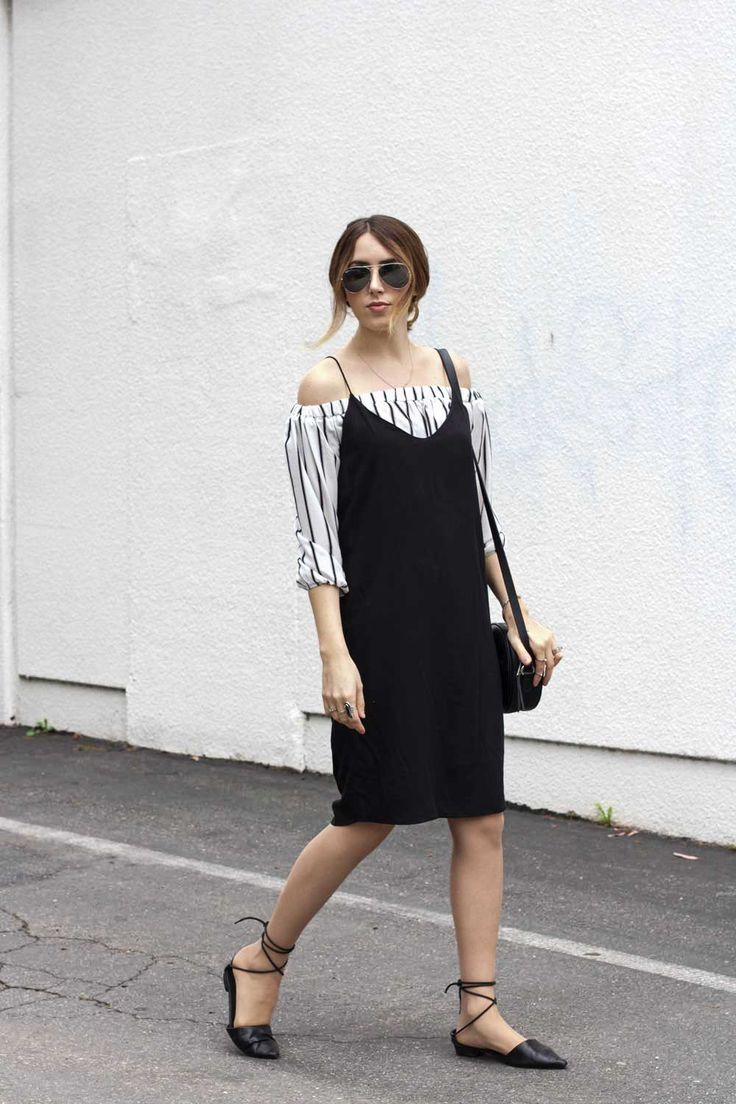 black slip dress outfit                                                                                                                                                      More
