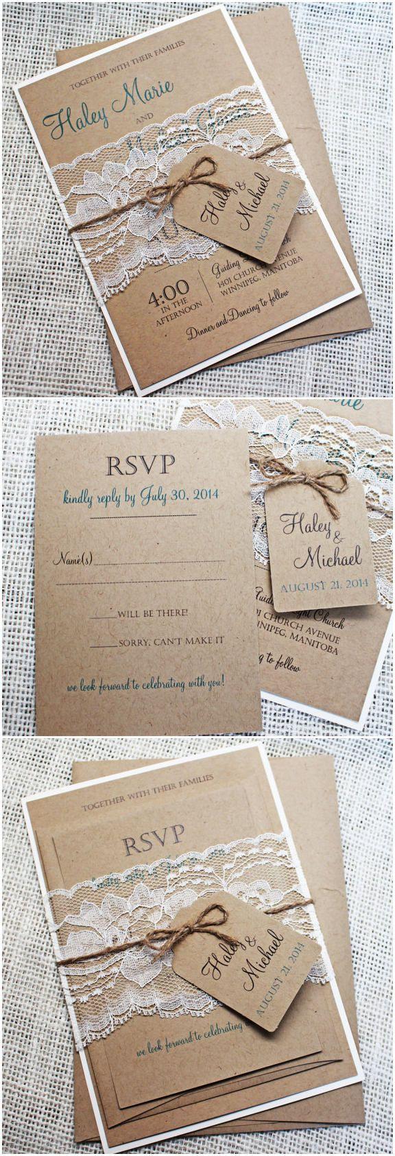 131 besten Rustikale Hochzeitseinladungen Bilder auf Pinterest ...