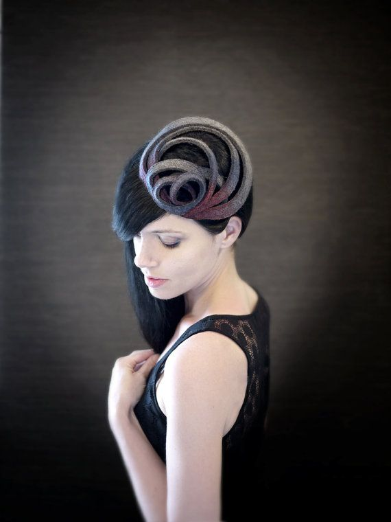 Modern Ombre Purple/Magenta/Grey Felt Fascinator  by pookaqueen, $70.00