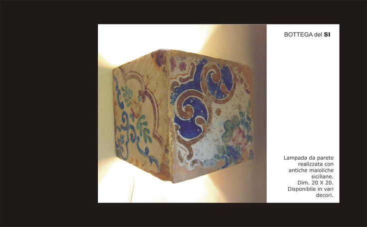 """Lamp made with original sicilian old maiolica tiles. Do you like? Take a look at my facebook page """"Bottega del SI"""". #lamp, #tiles, #majolica."""