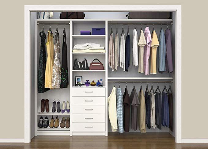 Amazon Com Closetmaid 6106240 Spacecreations 64 99 Wood Closet Organizer Kit Premier Dark Java Hom Closet Remodel Closet Layout Closet Organizing Systems