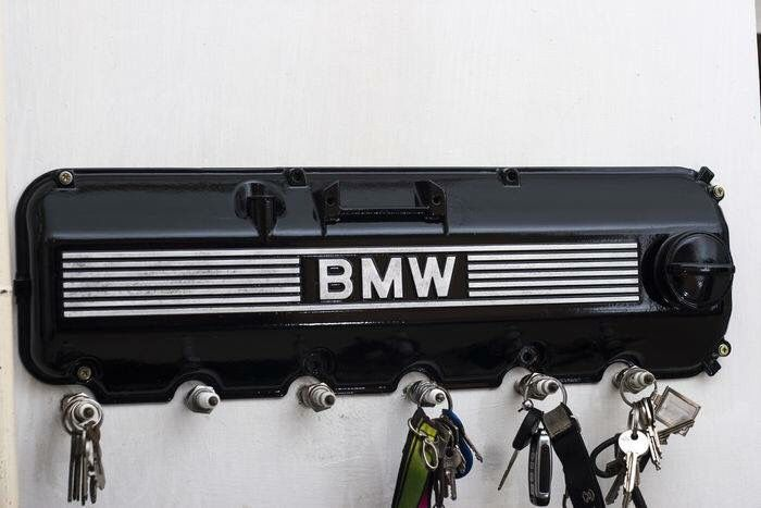 BMW valve cover and spark plug key rack. This would be perfect for our industrial and automotive decor