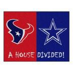 NFL Texans / Cowboys Red House Divided 2 ft. 10 in. x 3 ft. 9 in. Accent Rug, Red/Blue