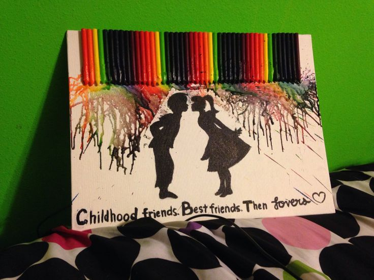 A canvas I made for my childhood friend, who is now my boyfriend! Melted crayon art. Childhood friend quote. Then lovers.