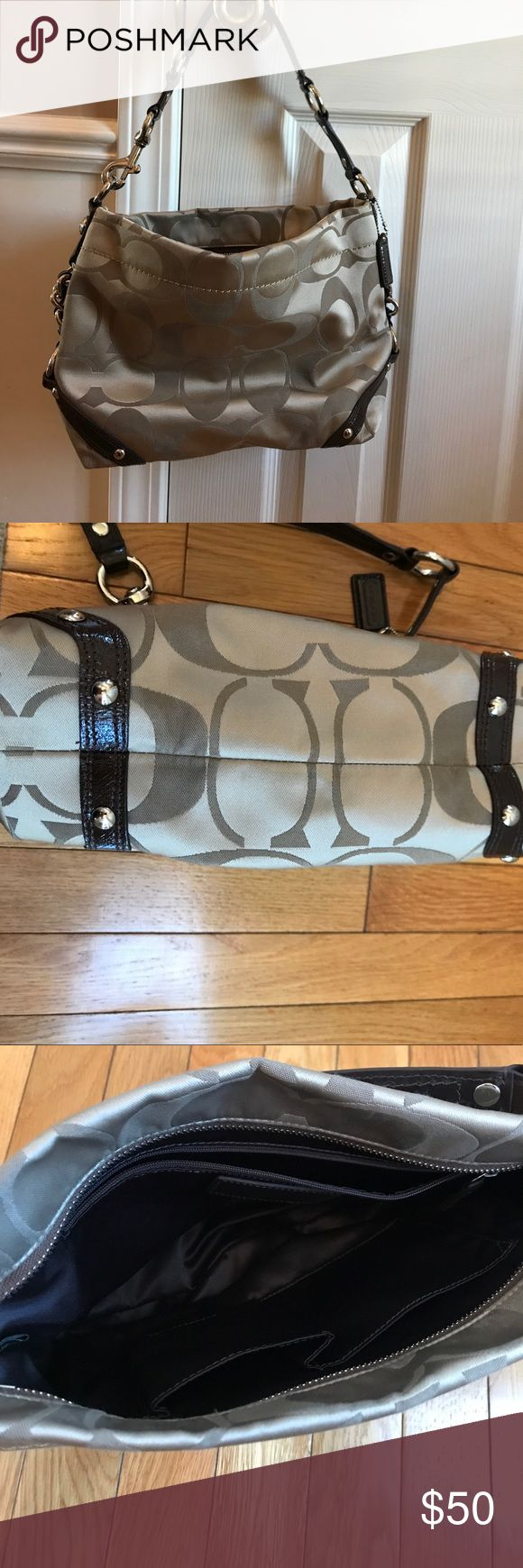 Coach purse,  beige/brown.  Short handle.  Clean. Coach purse,  beige/brown.  Short handle.  Clean.  Smoke free house Coach Bags Totes