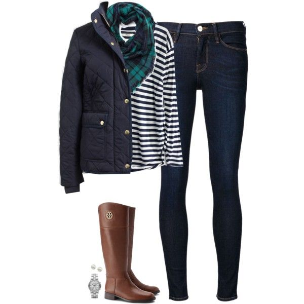 J.crew quilted jacket, striped tee & plaid scarf by steffiestaffie on Polyvore featuring J.Crew, Frame Denim, Madewell, Tory Burch, Marc by Marc Jacobs and Majorica