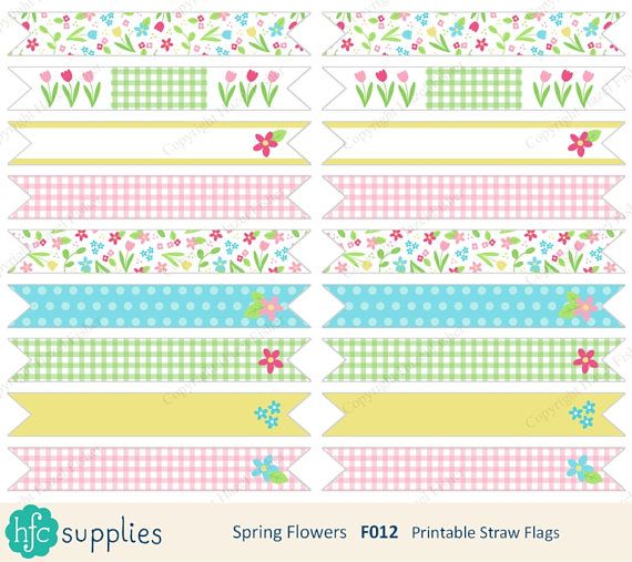 Spring Flowers printable straw flags - use at a birthday party or baby shower! Pretty flower design by hfcSupplies Etsy. Digital Instant Download