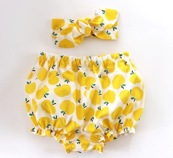 Yellow Apples, Baby Bloomers and Headband Set