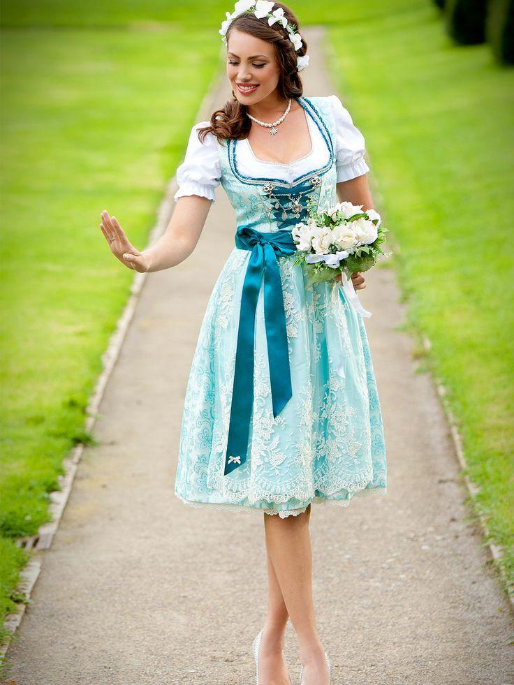 Es muss nicht immer Weiß sein - Brautdirndl in Türkis von AlpenHerz