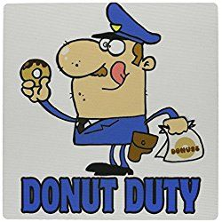 Funny Cartoon Police Officer On Donut Duty Mouse Pad (mp_118656_1)