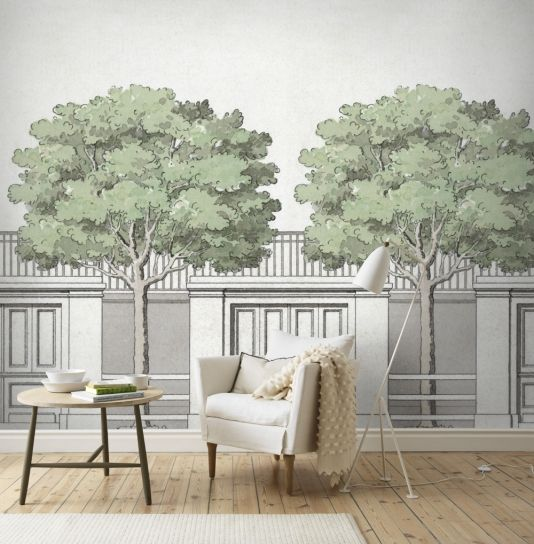Buy the carlbergs träd wall panel from the sandberg arkiv collection with a tree lined street printed in green and grey on off white