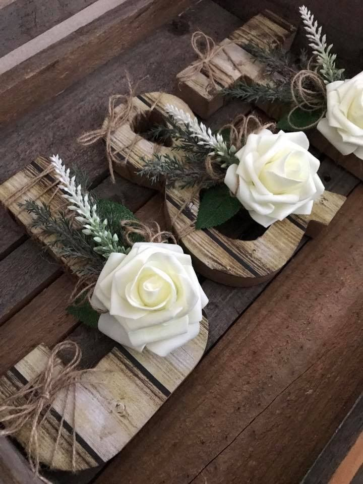 Rustic wedding love letters