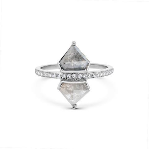 Shield Cut Diamonds, Diamond Slice, Rustic Diamond, Rough Diamonds, Grey diamond Engagement Ring . Alternative Bridal Cool Girl bride Rachel Boston Jewellery