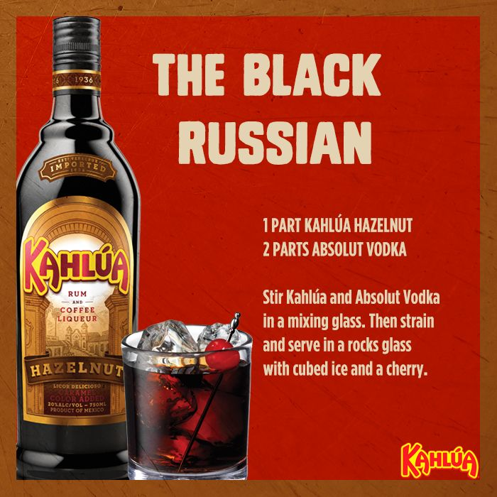 For a fun winter twist on a classic cocktail, try whipping up a Black Russian with Kahlua Hazelnut!