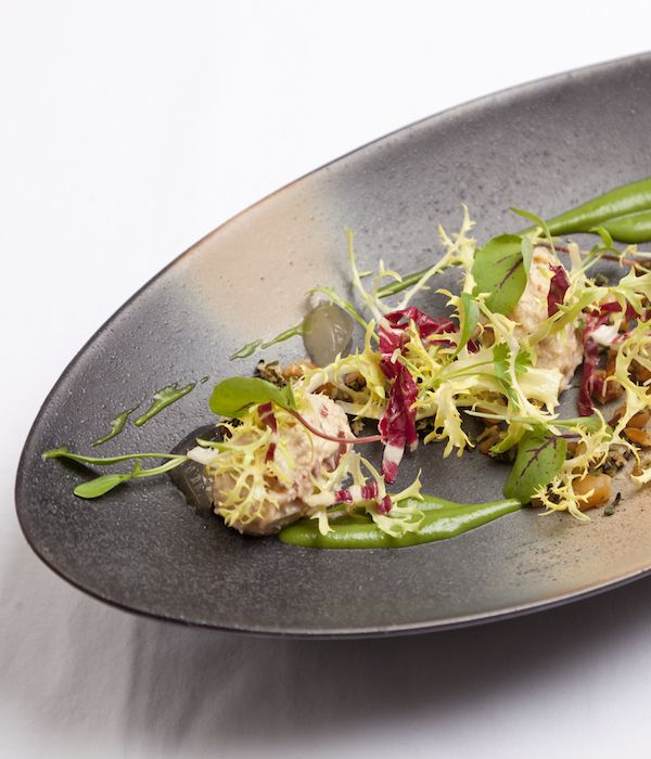 "Dave Watts took inspiration from his time working at Le Manoir to create this superb crab salad with lemongrass recipe. ""Raymond (Blanc) and Gary (Jones) spent some formative time in Malaysia and Thailand and were inspired by the vast array of ingredients in the form or aromatics and spices,"" he explains. ""This influenced some of the dishes we created at Le Manoir."""