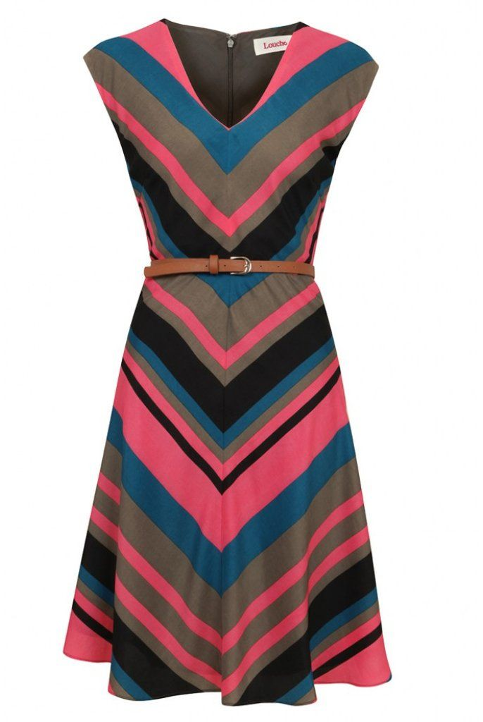 Chevron Striped Belted Dress