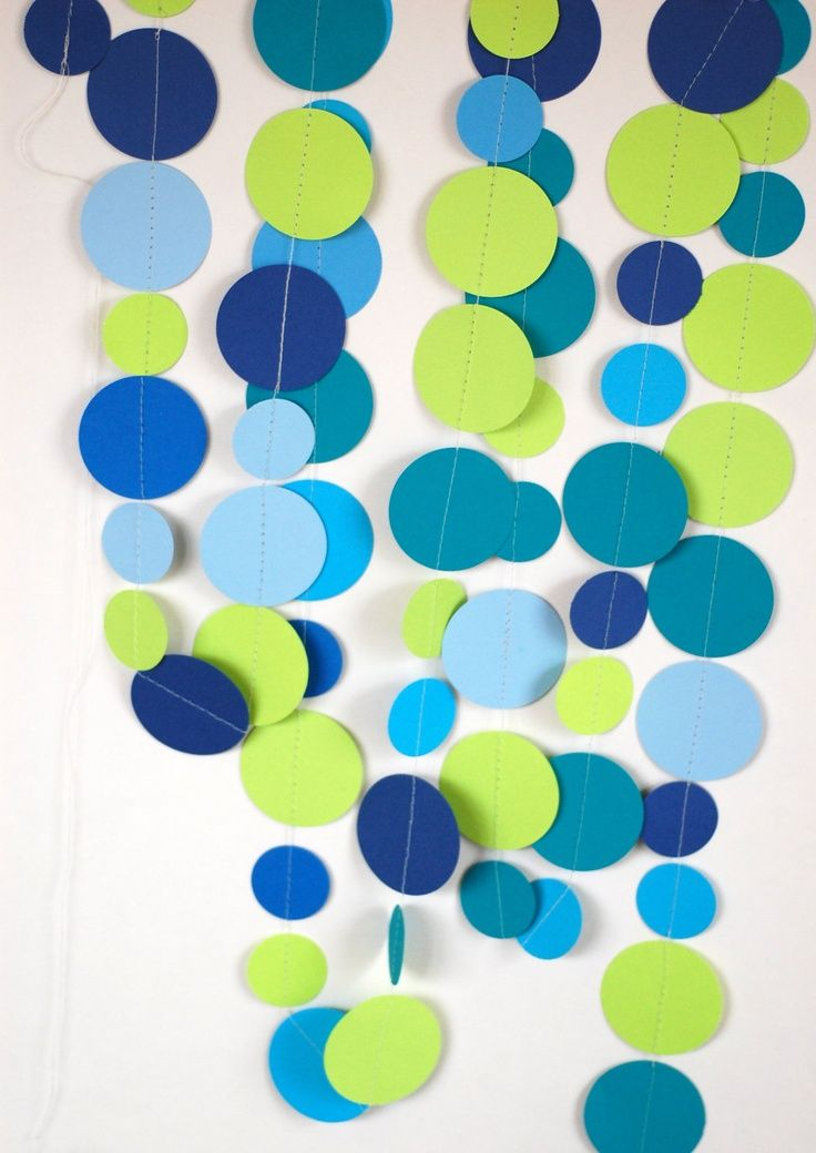 Blue And Green Living Room Ideas: Make A Paper Garland With Large Paper Dots In Teal Blue