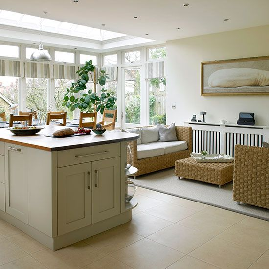 Cream kitchen with living and dining areas | Kitchen decorating | 25 Beautiful Homes | Housetohome.co.uk