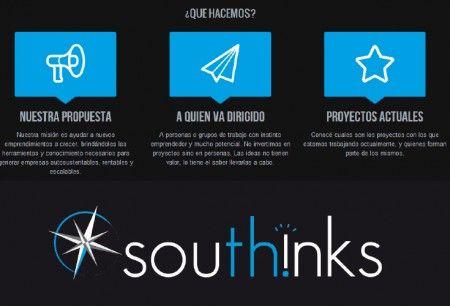 Desarrollo de imagen institucional y página web para southinks.com, incubadora de startups con base tecnológica. Pagina web adaptable a todos los dispositivos. Diseño de logo y tarjetas personales.