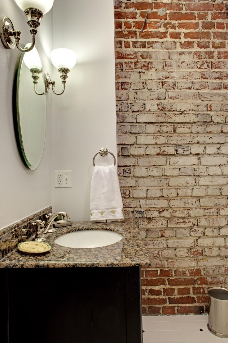 love how much an interior brick wall adds to the bathroom on brick wall id=64724