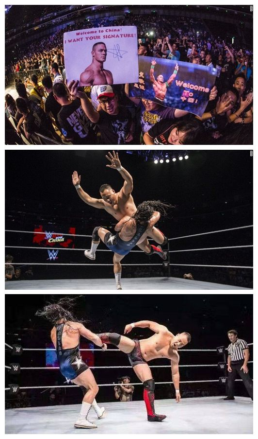 """Chinese wrestler wins debut match at WWE's first show in China  Wang Bin, the first Chinese pro-wrestler to sign a developmental contract with the US-based World Wrestling Entertainment (WWE), has won the first match of his career, and that too, in his homeland.  After a three-month training at WWE's """"Performance Center"""" in Orlando, Florida, 22-year-old Wang returned to China earlier this month for his first ever WWE match, in Shanghai."""