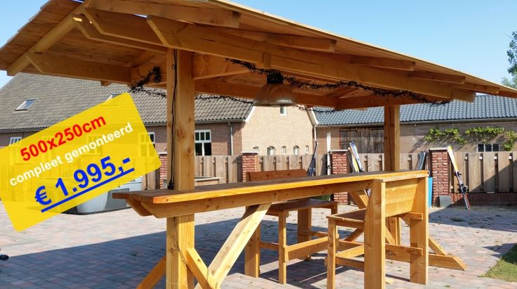 schaduwdoek hangtafel statafel overkapping veranda apresski bar van douglas hout