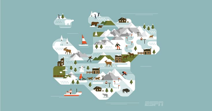 ESPN Magazine - Winter Map on Behance