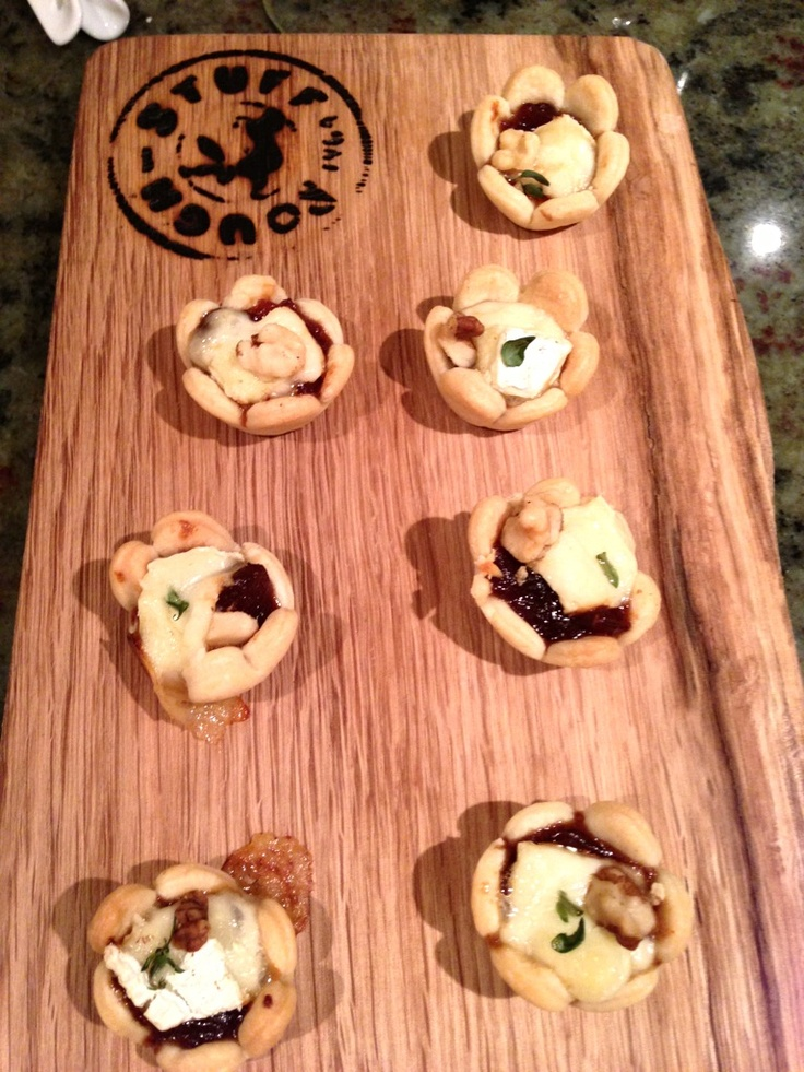 Tamarillo chutney Brie and walnut tarts