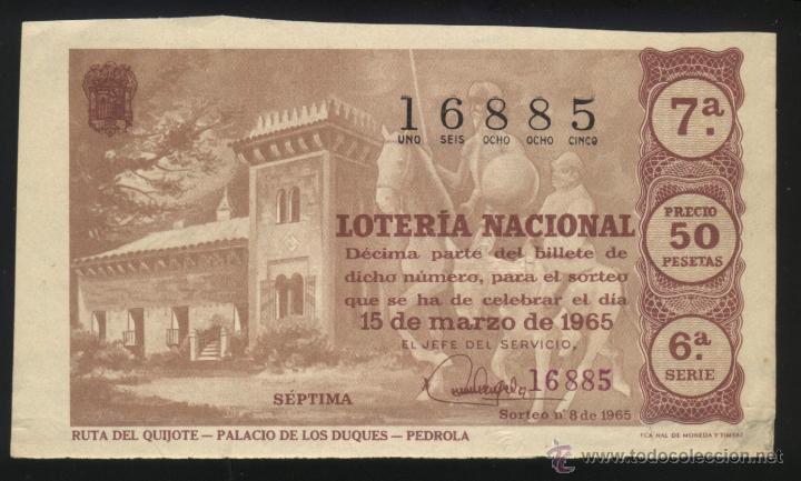 A-1824- DECIMO LOTERIA NACIONAL. 1965. RUTA DEL QUIJOTE. PALACIO DE LOS DUQUES. PEDROLA (ZARAGOZA)