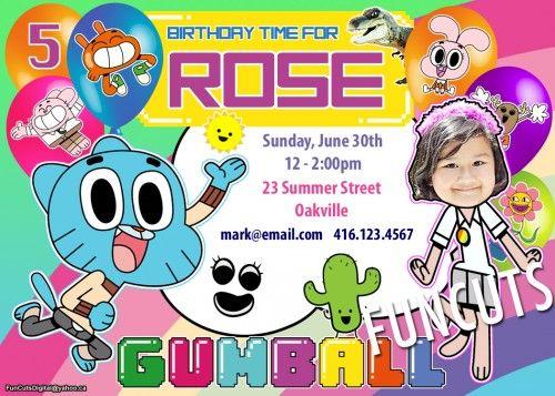 Amazing World of Gumball Invitation, Birthday Invitation, Kids invite