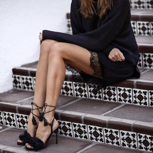 Black knit, lace skirt + Aquazzura Wild Thinged fringed sandals | @styleminimalism