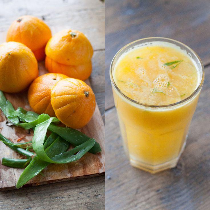 Detox Aloë Vera Sinaasappel Sap.  Aloë Vera gel kan niet zo lekker smaken, een beetje bitter. In combinatie met bv.sinaasappelsap is het echter een goede detox. En het restant van de aloë vera gel kun je op je huid smeren.