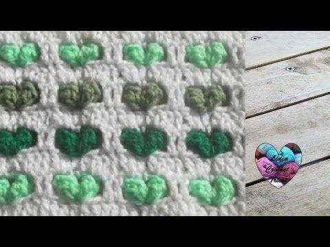 Crochet point coeur en relief / corazones en relieve crochet - YouTube