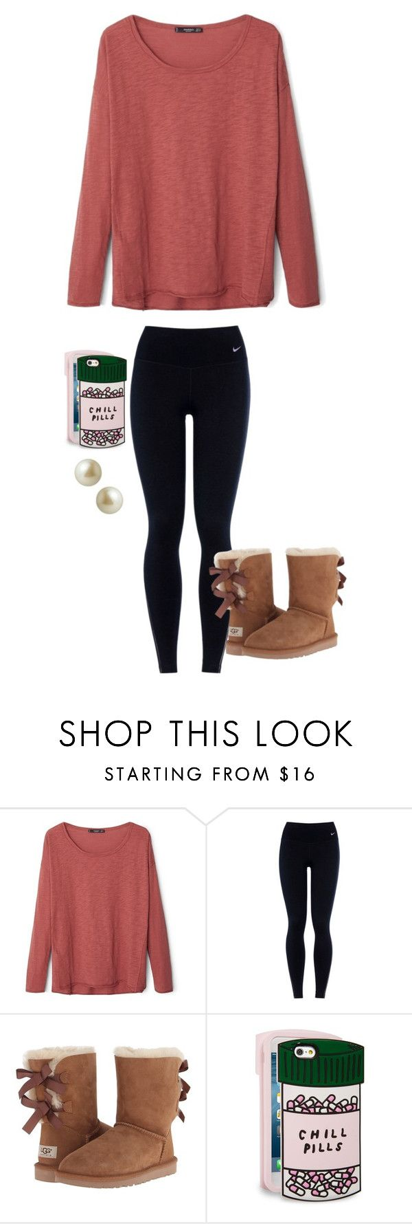 """""""Does anyone have these boots?"""" by avaodom ❤ liked on Polyvore featuring MANGO, NIKE, UGG Australia, ban.do, Carolee, women's clothing, women, female, woman and misses"""