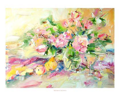 """""""Вино из розовых лепестков"""" картина маслом - подарок,подарок девушке,подарок на день рождения"""