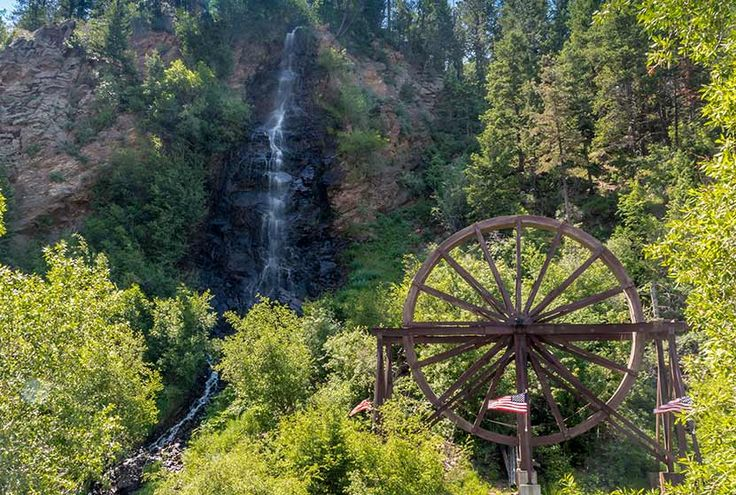 Bridal Veil Falls & Water Wheel near Idaho Springs CO.  Very short hike/walk at Water Wheel Park (new in June 2016).