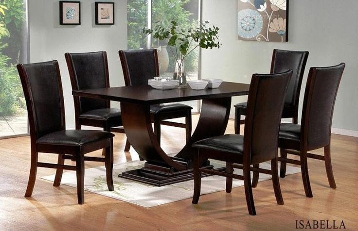 7 Pc Isabella Collection Espresso Finish Wood Pedestal Dining Table Set With Leather Like Vinyl Upholstery This Includes The Curved Style