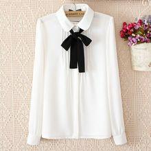 2016 elegante escritório senhoras camisa feminina gola peter pan bonito manga longa branca de babados blusa de chiffon com laço preto CB83