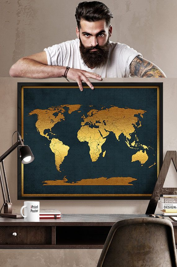 world map print, vintage style world map, world map with faux gold, detail world map, World map print, Home decor, wall art, iPrintPoster