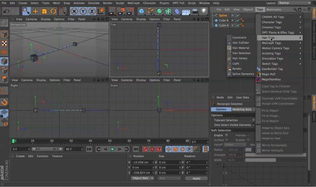 A tutorial in Cinema 4D explaining how to create a dynamic cable based on a spline with Hair dynamics.