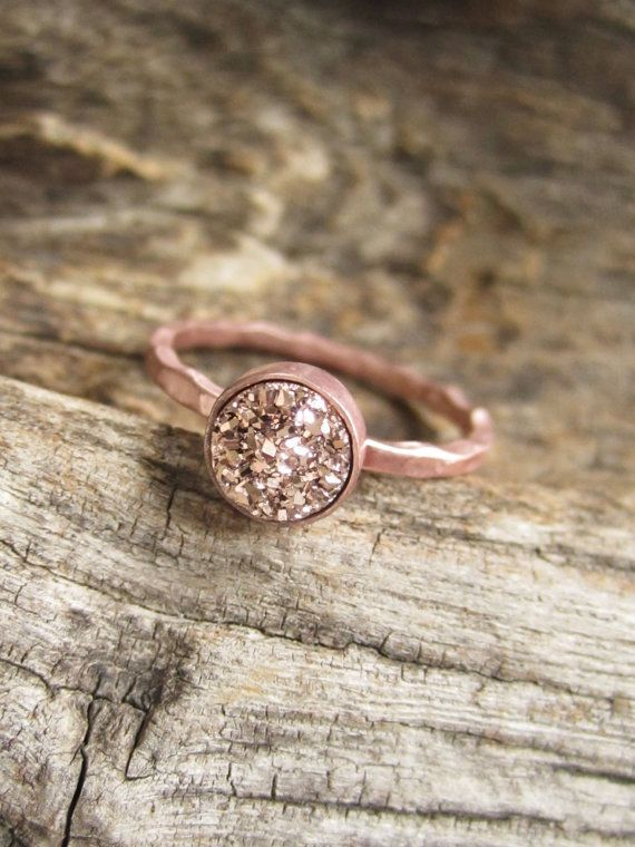 BROWSE ALL COLORS & FINISHES! Tiny Rose Gold Druzy Ring Titanium Drusy Quartz by julianneblumlo, $58.00