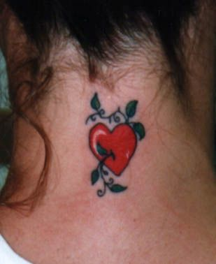 love heart with green leaf tatto - Heart tattoos