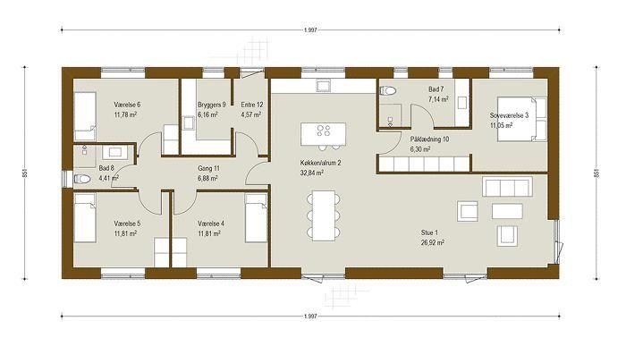 Længehus 170 m² - se plantegning og få inspiration til nyt hus